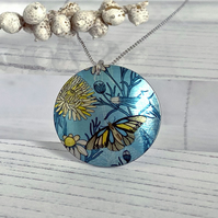 Butterfly necklace, 32mm floral disc pendant, handmade jewellery. P36-196