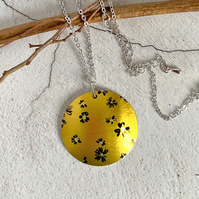 Yellow daisy necklace, 32mm floral disc pendant, handmade jewellery. P36-196
