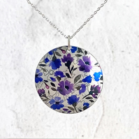 Purple necklace, 32mm floral disc pendant, handmade jewellery. P32-340