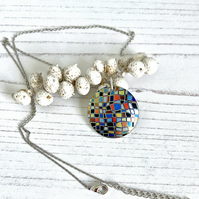 Multi coloured necklace, 25mm geometric mosaic disc pendant. P25-245