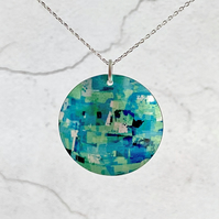 Turquoise necklace, 32mm abstract disc pendant, handmade jewellery. P36-694