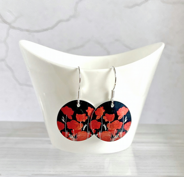 Poppy drop earrings, floral discs dangle on sterling silver ear wires E19-644