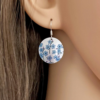 Forget Me Not drop earrings, discs dangle on sterling silver ear wires E19-114
