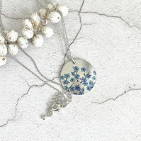 Forget Me Not necklace, 25mm floral disc pendant, handmade jewellery. P25-114