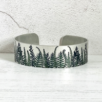 Fern cuff bracelet in brushed aluminium with green ferns. Small or Medium B62