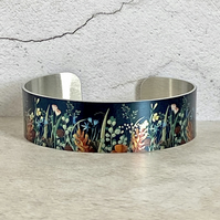 Autumn leaves cuff bracelet, bangle with foliage and flowers. B63