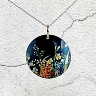 Autumn leaves necklace, 32mm disc pendant, handmade jewellery. P32-63
