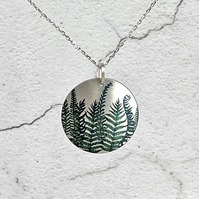 Fern necklace, 25mm pendant with green ferns, handmade jewellery. P25-62