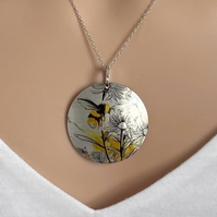 Bee necklace, 32mm disc pendant on a fine chain. Handmade jewellery. P32-533