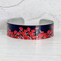 Poppy cuff bracelet, floral bangle with red poppies. B644