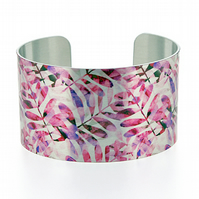 SALE, Cuff bracelet, wide metal bangle with pink foliage leaves. C243