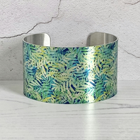 SALE, Cuff bracelet, wide metal bangle with blue green leaves and foliage. C516