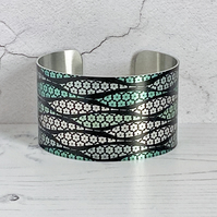 SALE, Cuff bracelet, wide metal bangle with geometric wavy green lines. C320