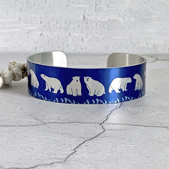 Polar Bear cuff bracelet, artic animals polar bears gifts. B652
