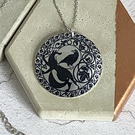 Necklace with fox and crow, 32mm disc pendant, handmade jewellery gifts.