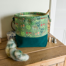 Drawstring project bag made with woodland rabbit print and fine needlecord
