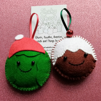 Festive Sprout and Pudding Pals hanging decorations
