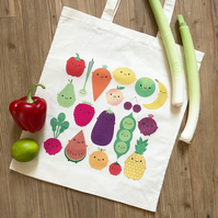 5 A Day Shopper Bag - Kawaii Fruit and Vegetables