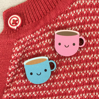 Kawaii Cup of Tea Wooden Pins