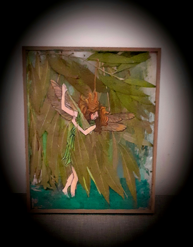 """The Willow Fairy"" acrylic painting with real pressed weeping willow leaves"