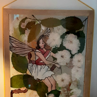 """The Cherry Blossom Fairy"" hand drawn fairy with pressed cherry blossom flowers"