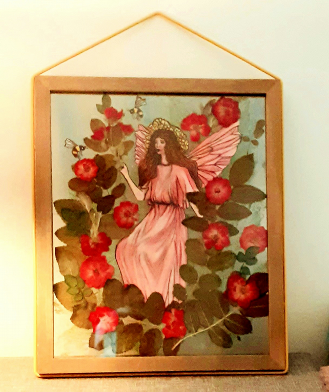 """The Wild Rose Fairy"" hand drawn illustration with pressed wild roses"