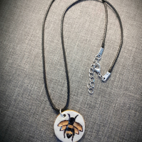 Handmade clay bumble bee pendant necklace