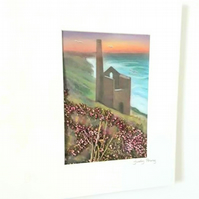 """Sunset and Engine House"" in pastels with pressed heather and grasses"