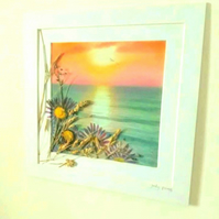 """Sunset and Seacape ""with pressed sea aster daisies and dried grasses"