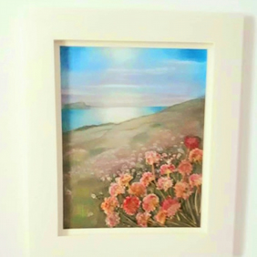Seascape and Sea Pinks ...with real pressed coastal sea thrift flowers
