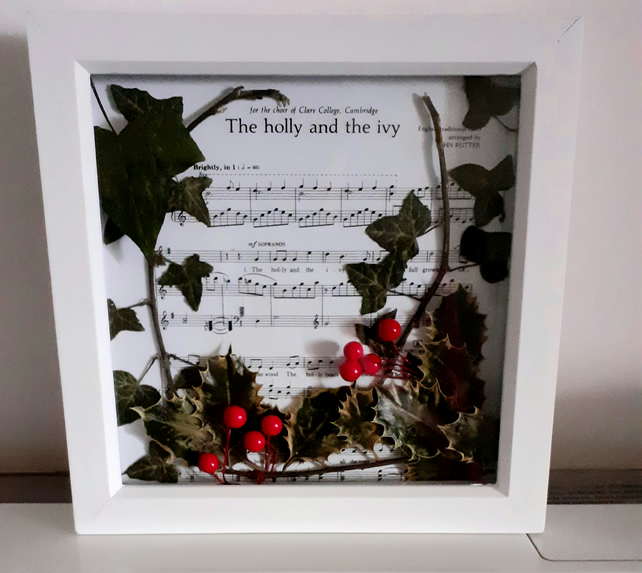 The Holly and the Ivy....decoupaged picture with pressed holly and ivy leaves