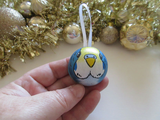 Christmas Tree Bauble Budgie Budgerigar Pet Bird Blue Hanging Decoration