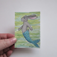Merbunny ACEO Miniature Painting Watercolour Mermaid and Bunny Underwater