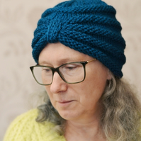 Teal Chunky Knit Turban Hat