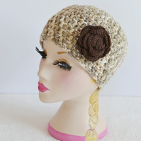 Flower Beanie hat Womens Winter hat