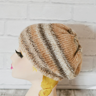 Brown Multi Beanie hat Womens Winter hat