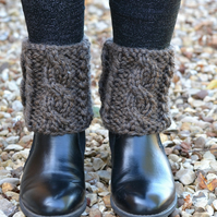 Brown Cable Boot Topper Cuffs