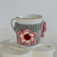 Grey  Knitted Cup Cozy With Flower