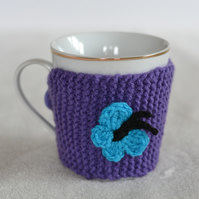 Purple knitted Cup Cozy With Butterfly