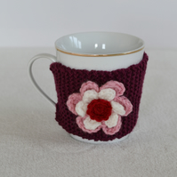 Plum  Knitted Cup Cozy With Flower