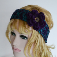 Knitted Headband Ear warmer Teal and Purple 7T - Adult Warmer Chunky