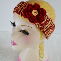 Ruby and Gold Knitted Headband Ear, 7T - Adult Warmer Chunky Knit Hairband
