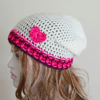 Cream Crochet Slouch tam Hat