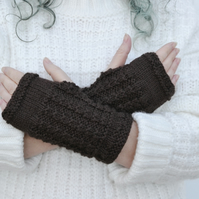 Womens Brown Aran Knitted Fingerless Gloves