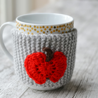 Apple Grey Mug Hug Cup Cozy Hand Knitted