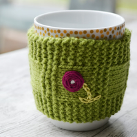 Green Flower Mug Hug Cup Cozy Hand Knitted