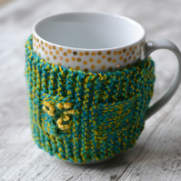 Embroidered Knitted Flower Mug Hug