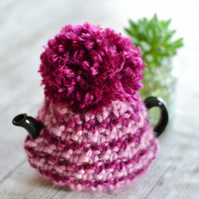 1 - 2   Cup Super Chunky  Cerise and Pink  Hand Knitted  Tea Cozy
