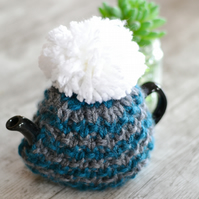 1 - 2   Cup Super Chunky  Petrol and Grey  Hand Knitted  Tea Cozy