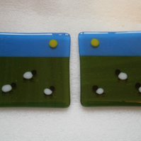 Fused glass sheepy coasters